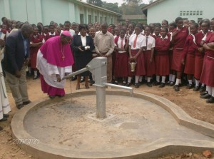 The Water Project : water-flowing-at-bishop-sulumeti-girls-school-during-hand-over-ceremony