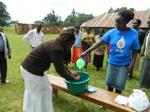 The Water Project : kenya4160-brenda-demonstrating-hand-washing