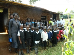 The Water Project : kenya4160-pupils-and-their-teachers-outside-their-classroom