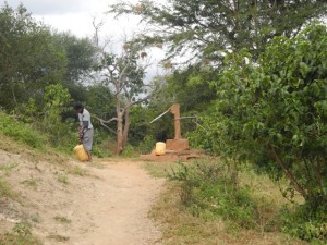 The Water Project : kenya4301-12-second-member-carries-water-home