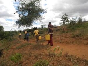 The Water Project : kenya4301-36-members-carry-water-home