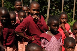 The Water Project : kenya4292-16-kids-in-uniform-outsid-classroom