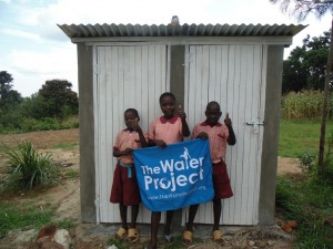 The Water Project : kenya4292-24-boys-in-front-of-newly-constructed-boys-latrine