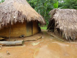 The Water Project : sierra-leone5074-29-typical-mud-house-and-kitchen-thatched-roof