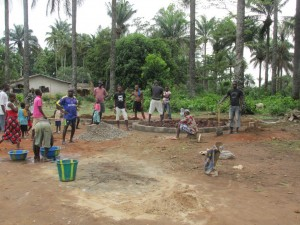 The Water Project : sierraleone5071-61-wall-construction-and-pump-installation