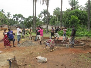 The Water Project : sierraleone5071-62-wall-construction-and-pump-installation