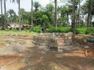 The Water Project : sierraleone5071-63-wall-construction-and-pump-installation