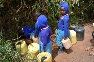The Water Project : kenya4451-07-fetching-water-from-a-stream