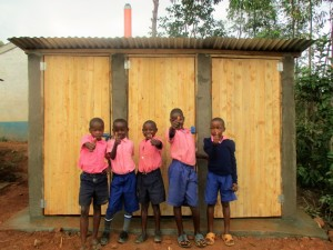 The Water Project : 18-kenya4623-finished-latrines