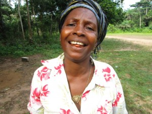 Kadiatu Kamara, discussing her newly donated water project in Sierra Leone