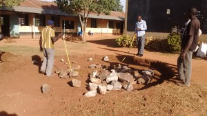 The Water Project : 17-kenya4650-measuring-tank-foundation