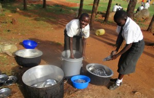 The Water Project : 35-kenya4640-students-washing-utensils-with-clean-water